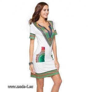 Figurbetontes Sommerkleid Mit Ärmel In Weiß  Sommer