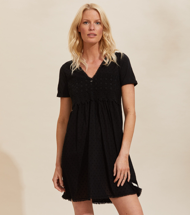 Finest Embroidery Dress Almost Black  Odd Molly  Welcome