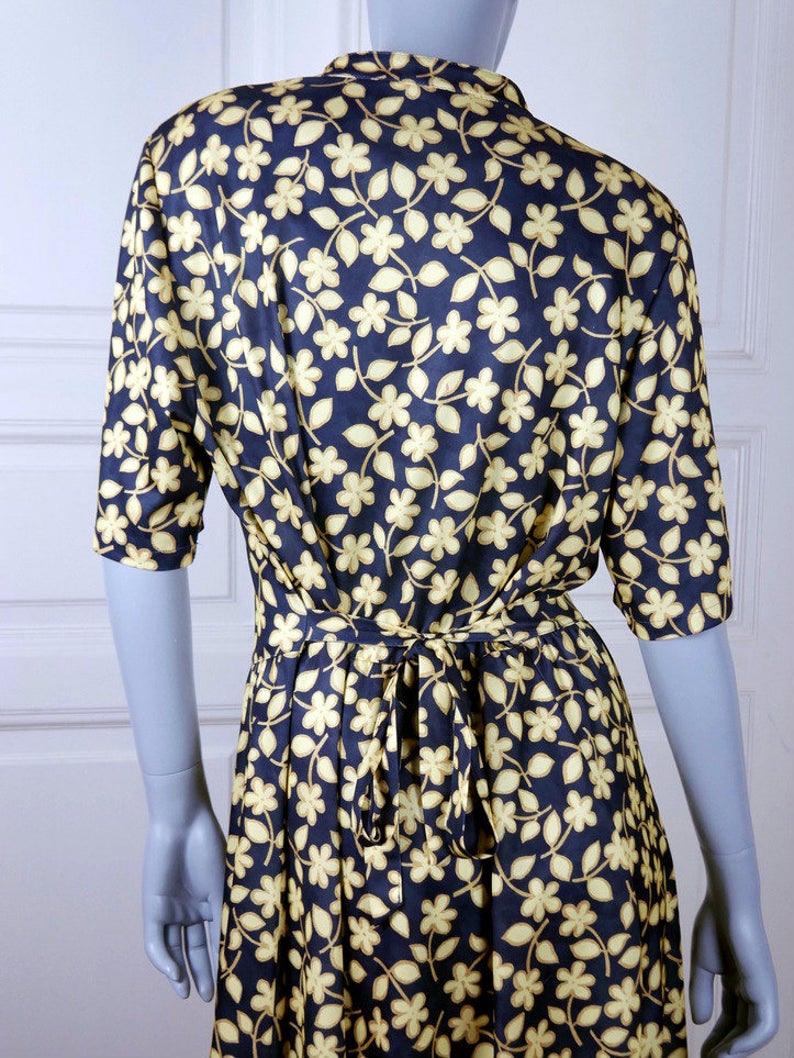 Finnische Vintage Blumenkleid Schwarz Gelb Blumen Midi