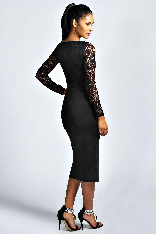 Formal Cool Schwarzes Kleid Midi Spezialgebiet  Abendkleid