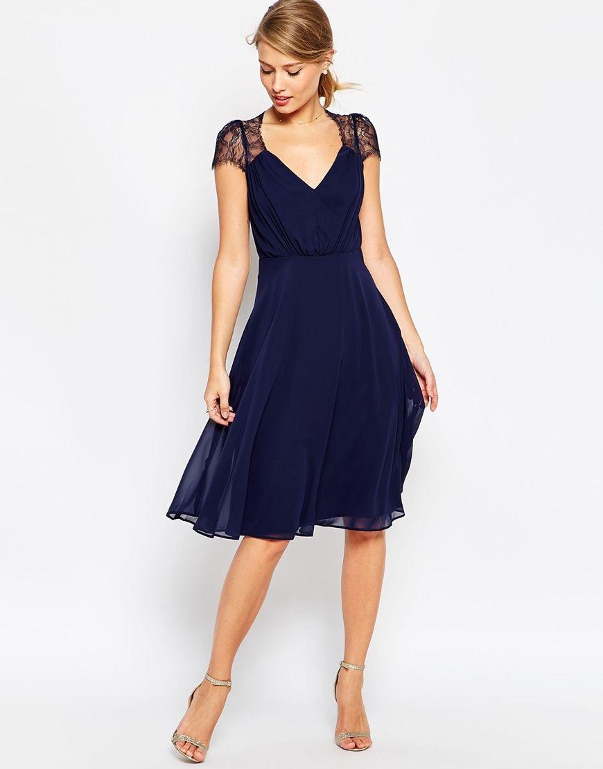 Formal Elegant Dunkelblaues Kleid Hochzeitsgast Vertrieb
