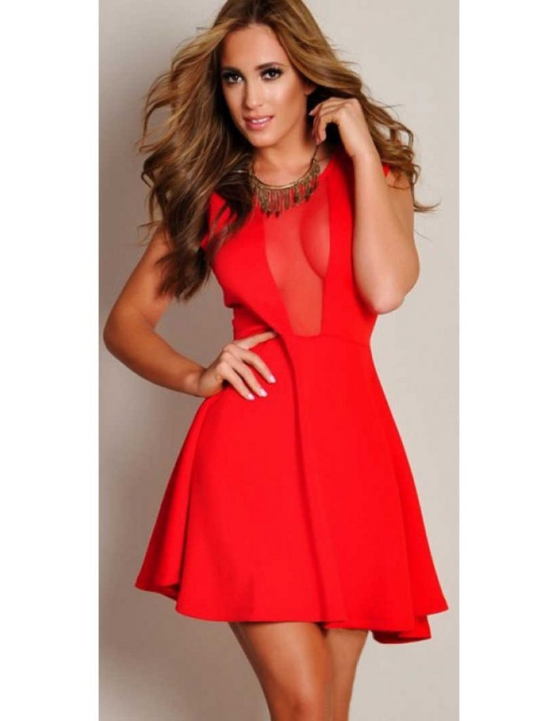 Formal Großartig Rotes Kleid Langarm Boutique  Abendkleid