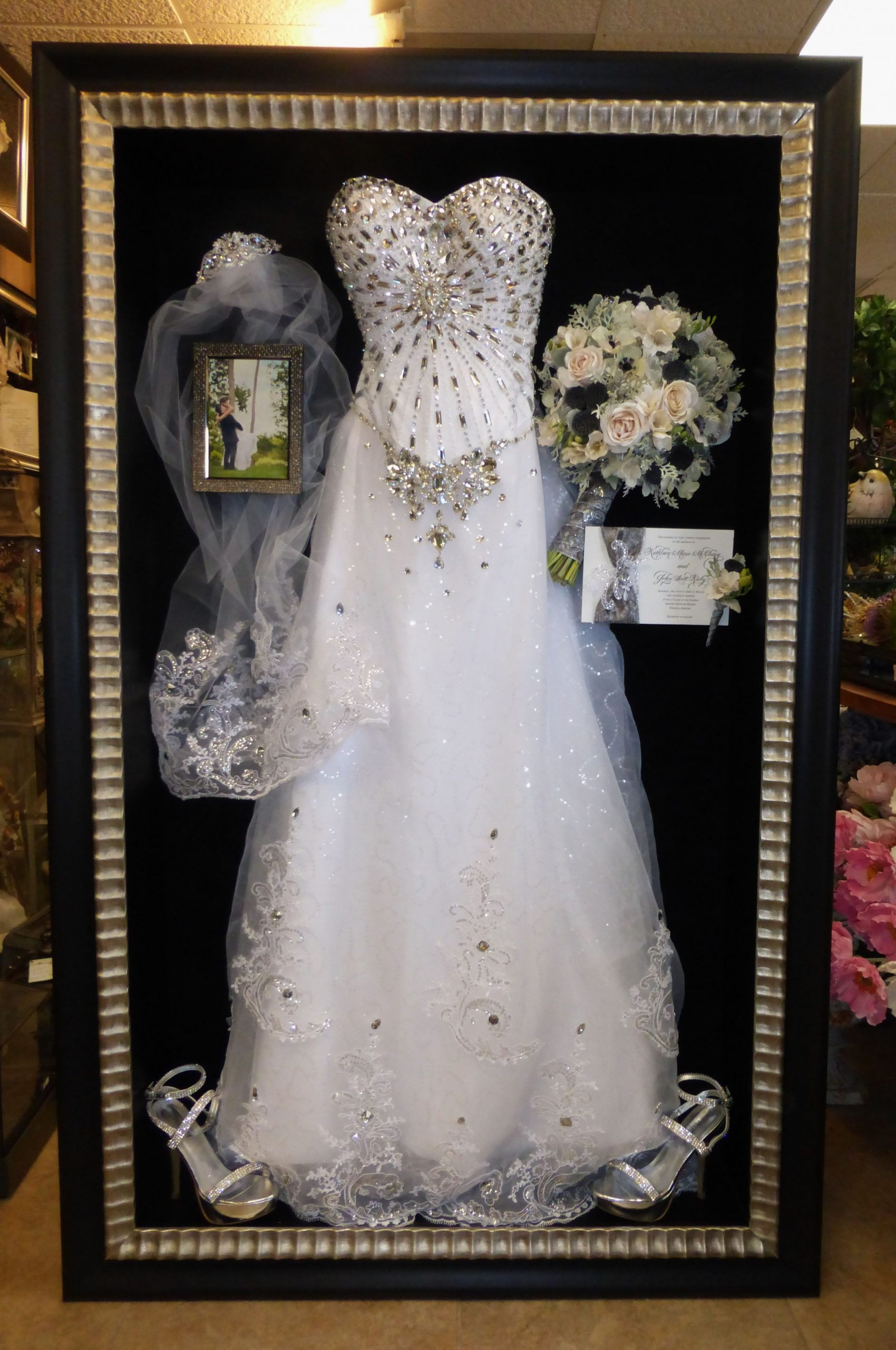 Framed Wedding Dress And Preserved Freezedried Bouquet