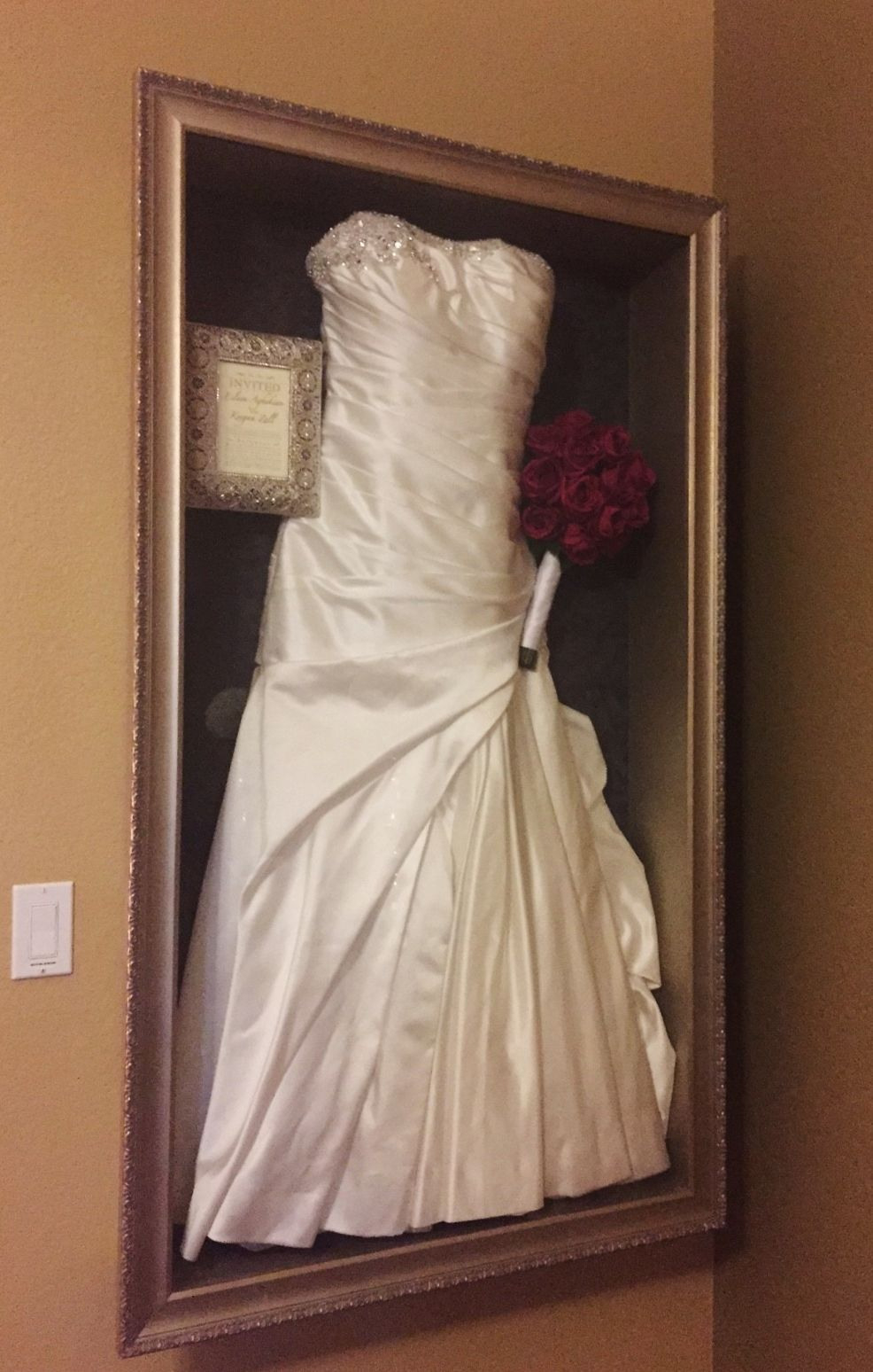 Framed Wedding Dress With Invitation And Bouquet Recessed