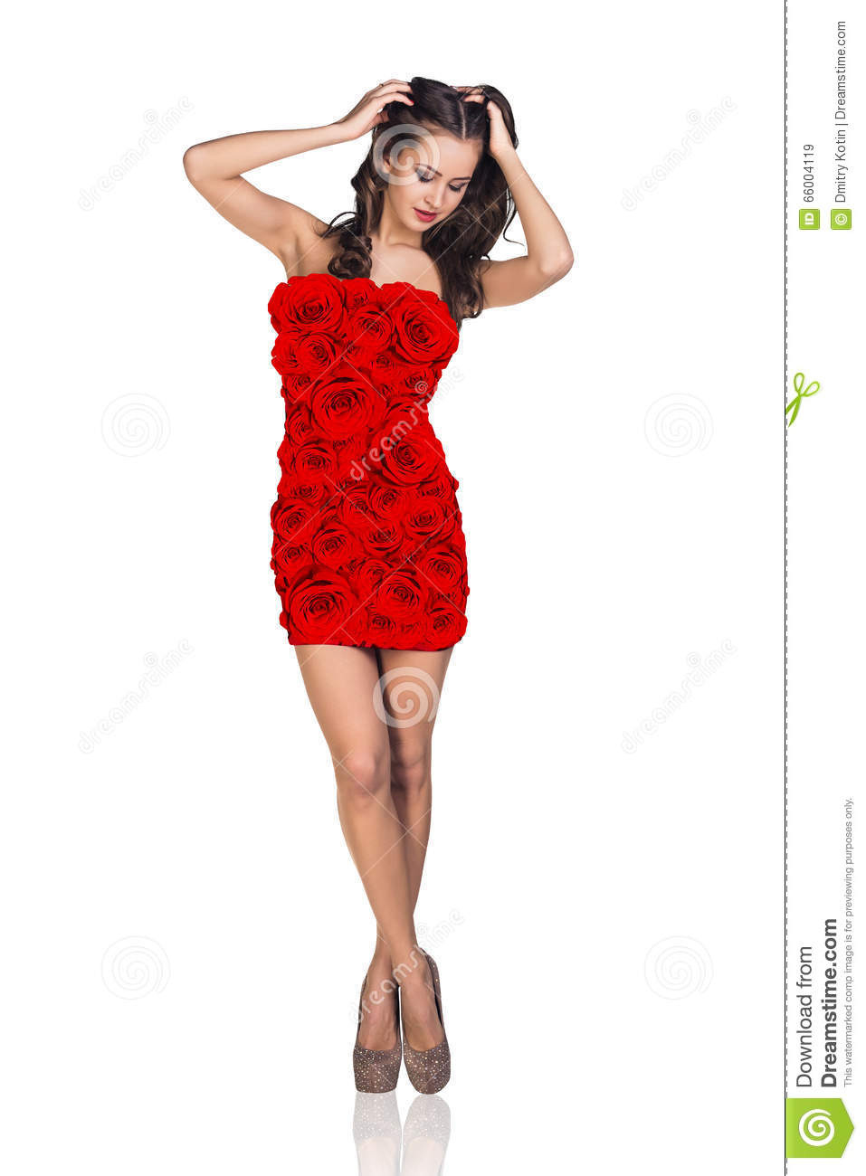 Frau Im Kleid Mit Rosenmuster Stockbild  Bild Von