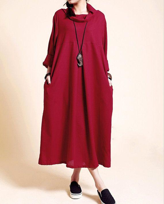 Frauen Dunkelrotes Kleid Maxikleid Kaftan Kleid