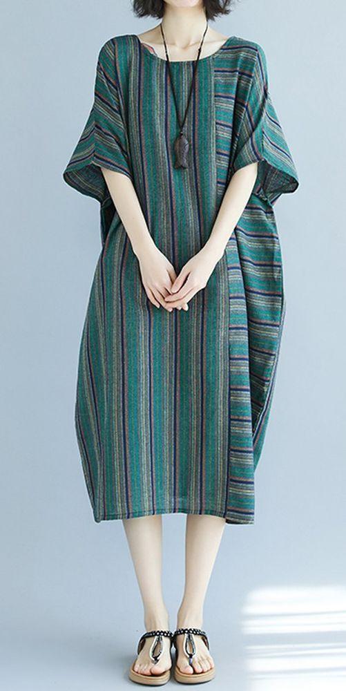 Frauen Locker Kleid Streifen Maxi Tunika Plus Größe Casual