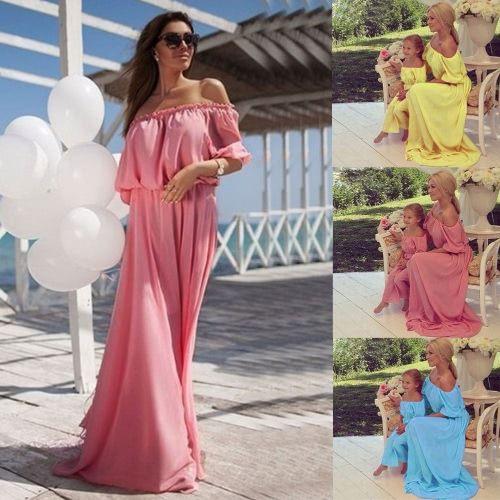 Frauenchiffon Maxi Kleid Familie Identische Kleidung