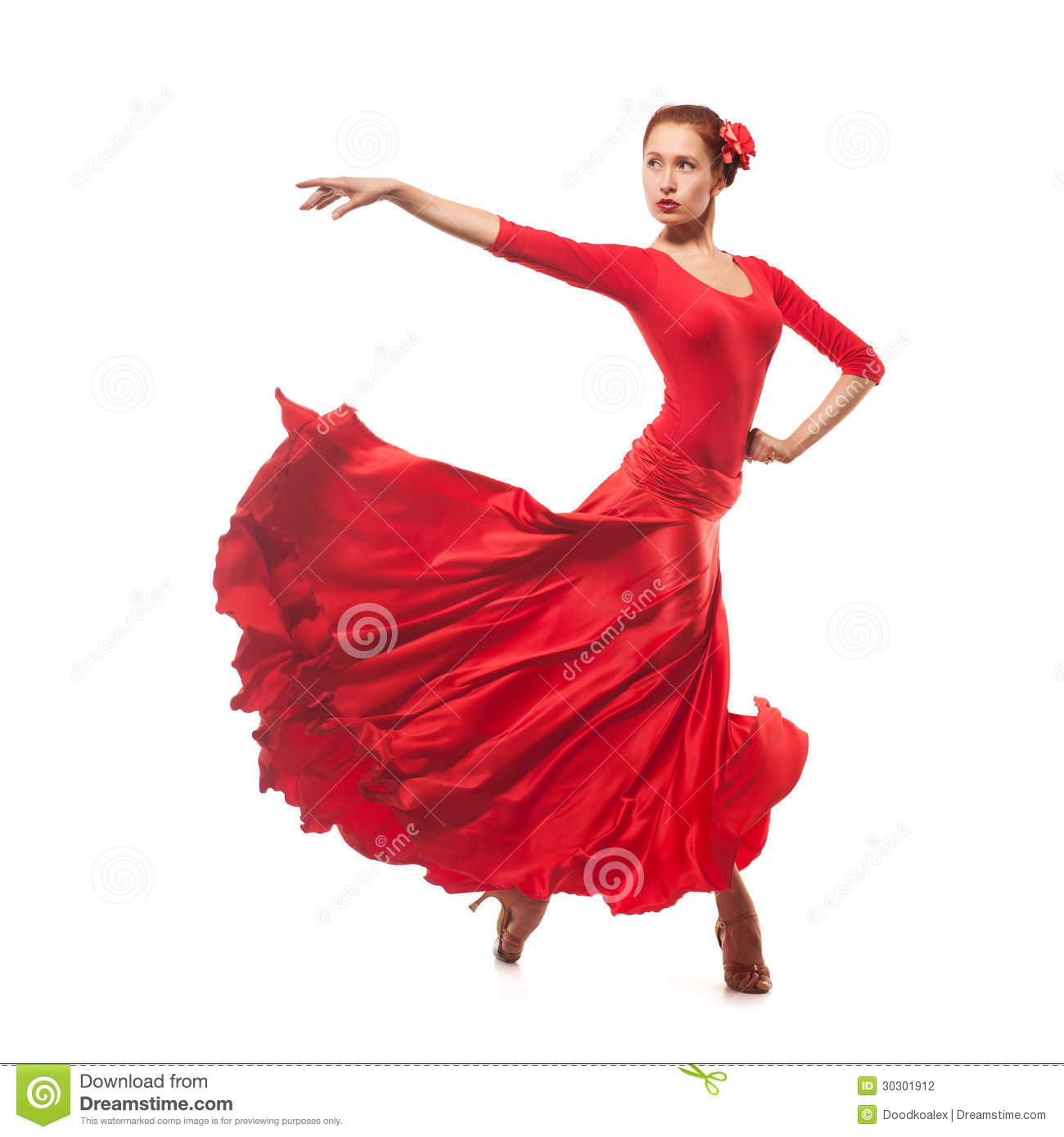 Frauentänzer Der Rotes Kleid Trägt Stockfotografie  Bild