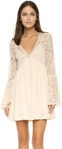 Free People With Love From India Dress  Rosa Kleid Lang