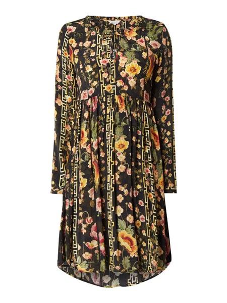 Frogbox Kleid Aus Viskose Mit Floralem Muster In Grau