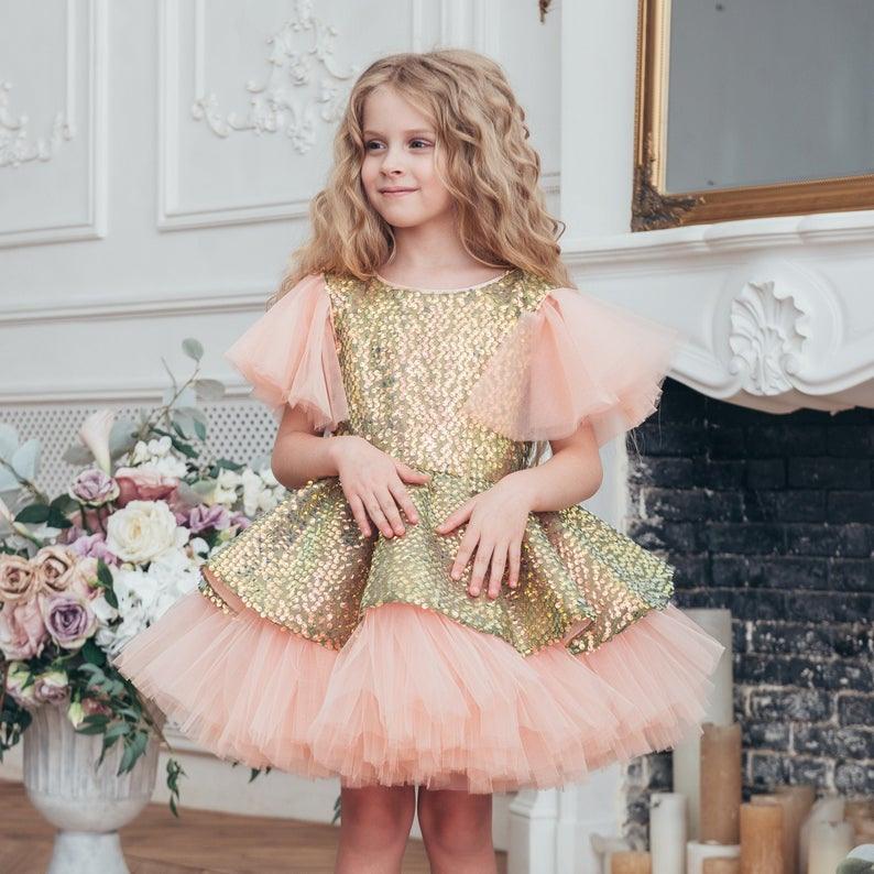 Funkelnde Gold Babymädchenkleid Geburtstag Tutu