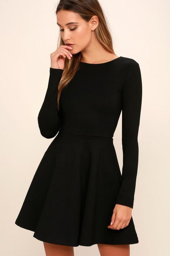 Für Immer Schickes Schwarzes Langärmliges Kleid  Outfit