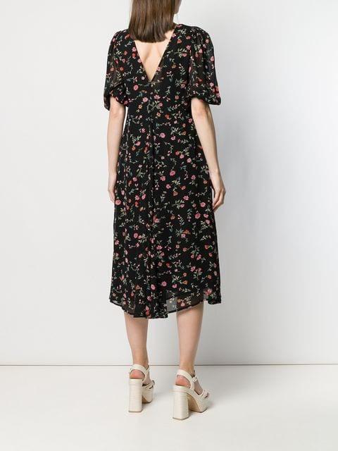 Ganni Kleid Mit Blumenprint Damen 099 Black Kleidung