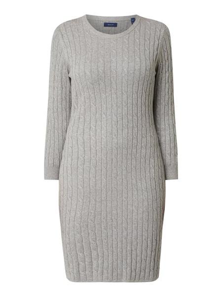 Gant Kleid Mit Zopfmuster In Grau / Schwarz Online Kaufen