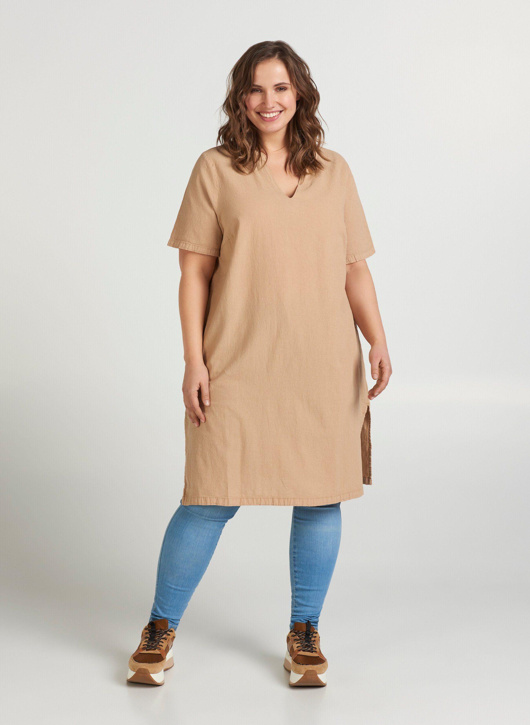 Ganz Weite Knielange Kleider In Baumwolle Kurzarm Sehr Weit