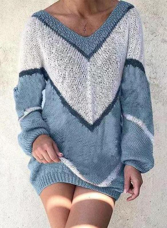 Geblockte Farben Vausschnitt Freizeit Lang Pulloverkleid