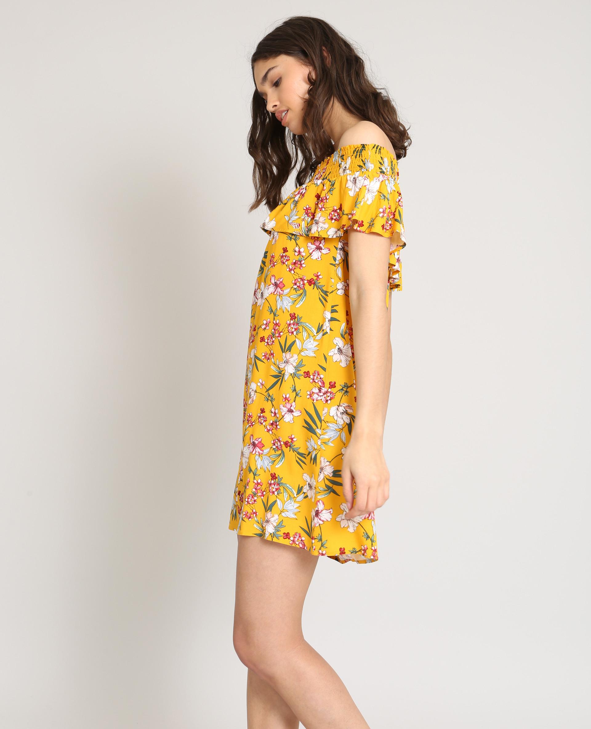 Gebluemtes Kleid Mit Bardot-Kragen Gelb - 780880061E1A