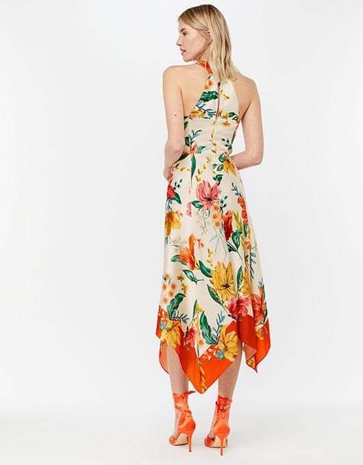 Geblümtes Kleid Mit Zipfelsaum Hazel  Elfenbein  38