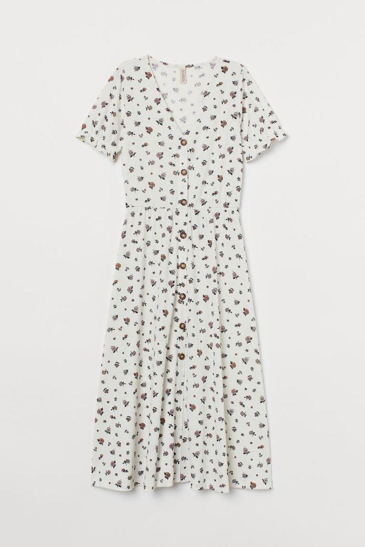 Gecrinkeltes Jerseykleid  Weiß/Geblümt  Ladies  Hm De