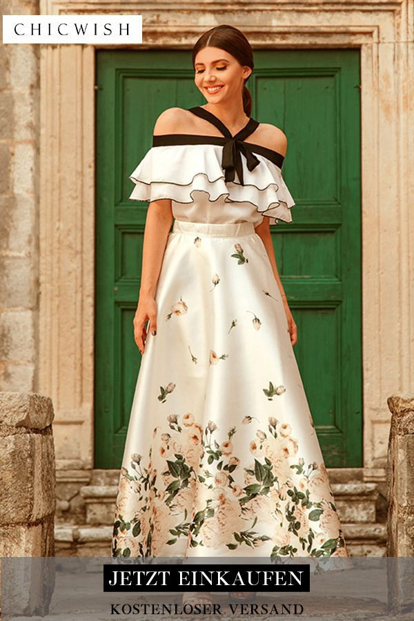 Gefallene Rose  Bedruckter Maxirock In Weiß  Modestil