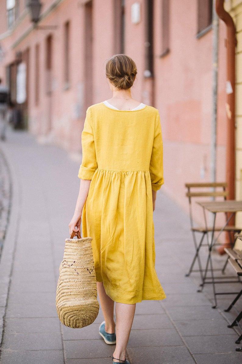 Gelb Leinen Kleidung Kittel Kleid Gelbes Leinen Kleid  Etsy