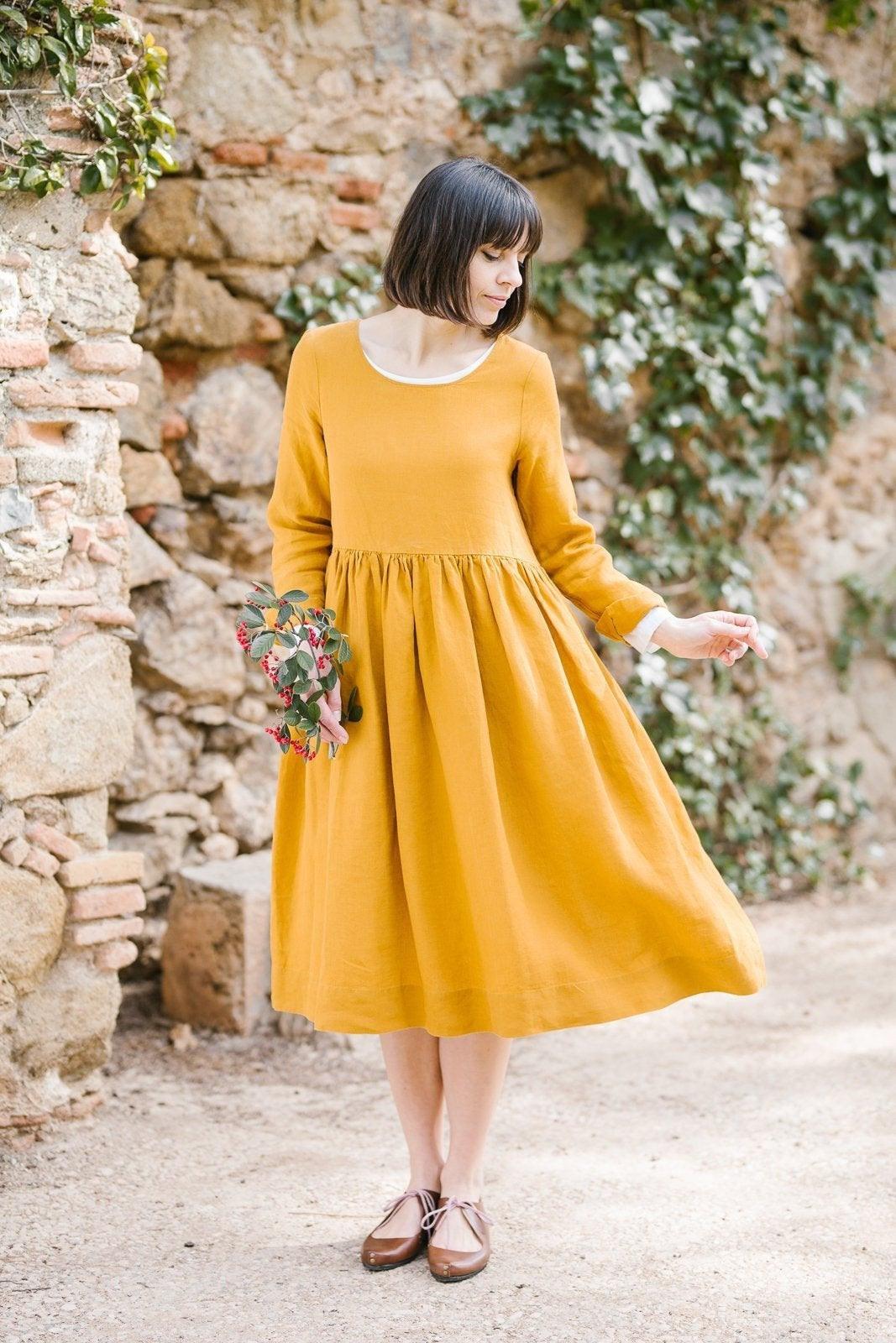 Gelbes Kleid Leinen Kleidung Kittel Kleid Gelbe Leinen  Etsy