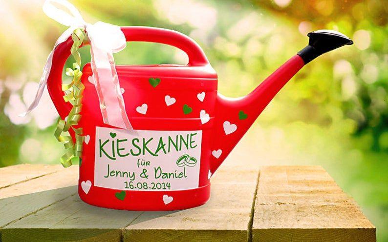 """Geldgeschenk """"Kieskanne"""" Zur Hochzeit  Rot  5L"""