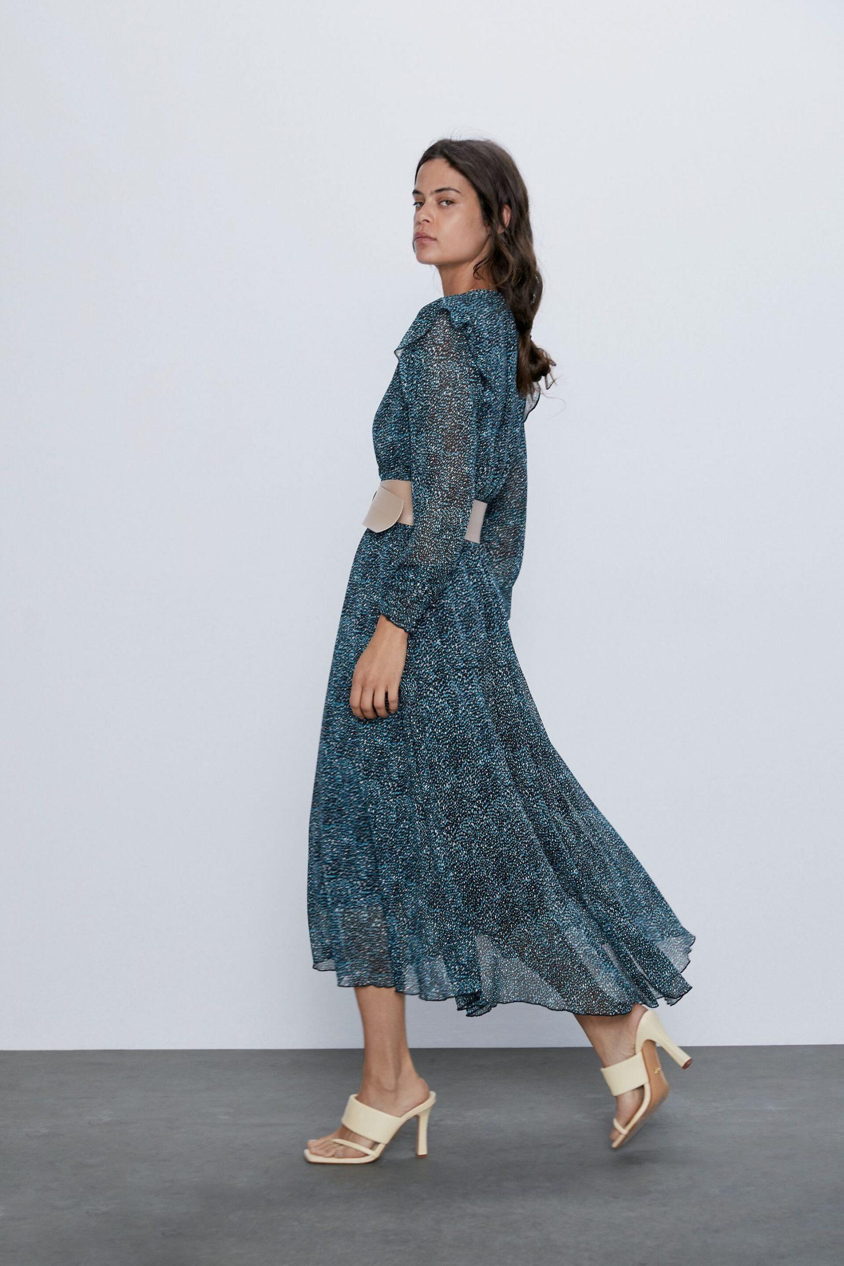 Gemustertes Kleid Mit Gürtel  Zara Deutschland / Germany