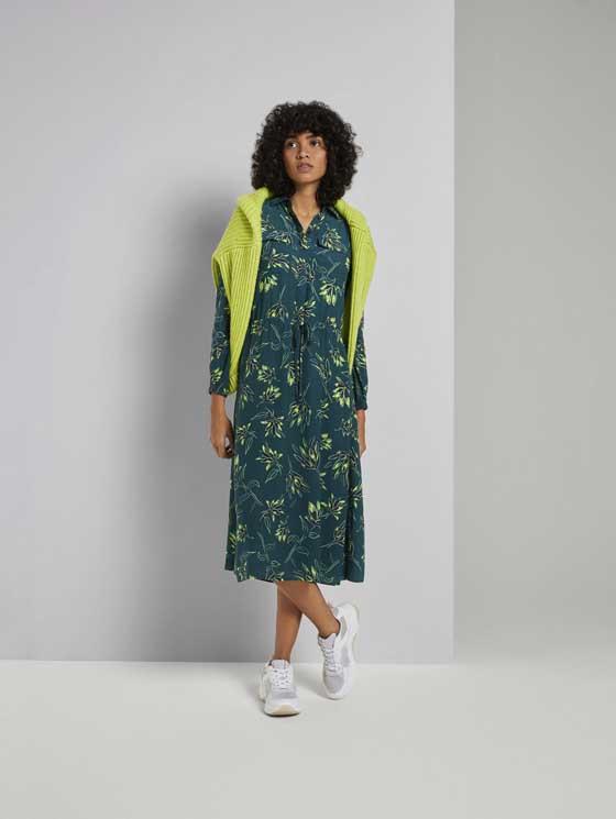 Gemustertes Midiblusenkleid Grün  Von Tom Tailor Mine