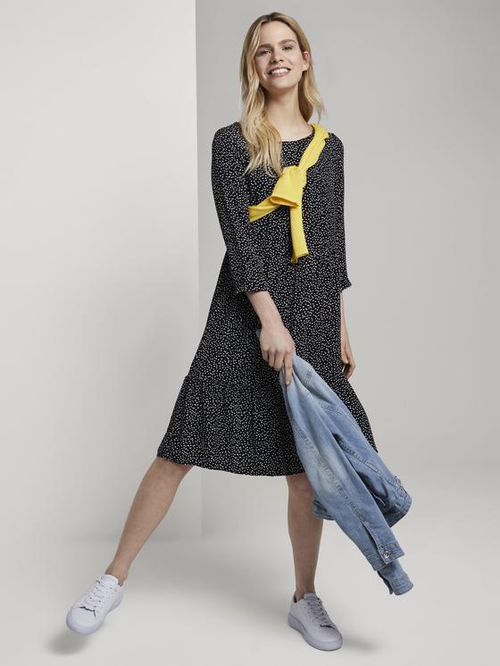 Gepunktetes Kleid Mit Volants Schwarz  Von Tom Tailor