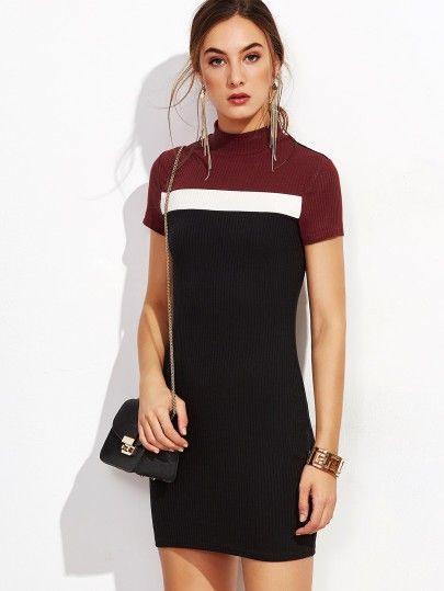 Geripptes Bodycon Kleid Kontrastfarbe  Patchwork Kleid