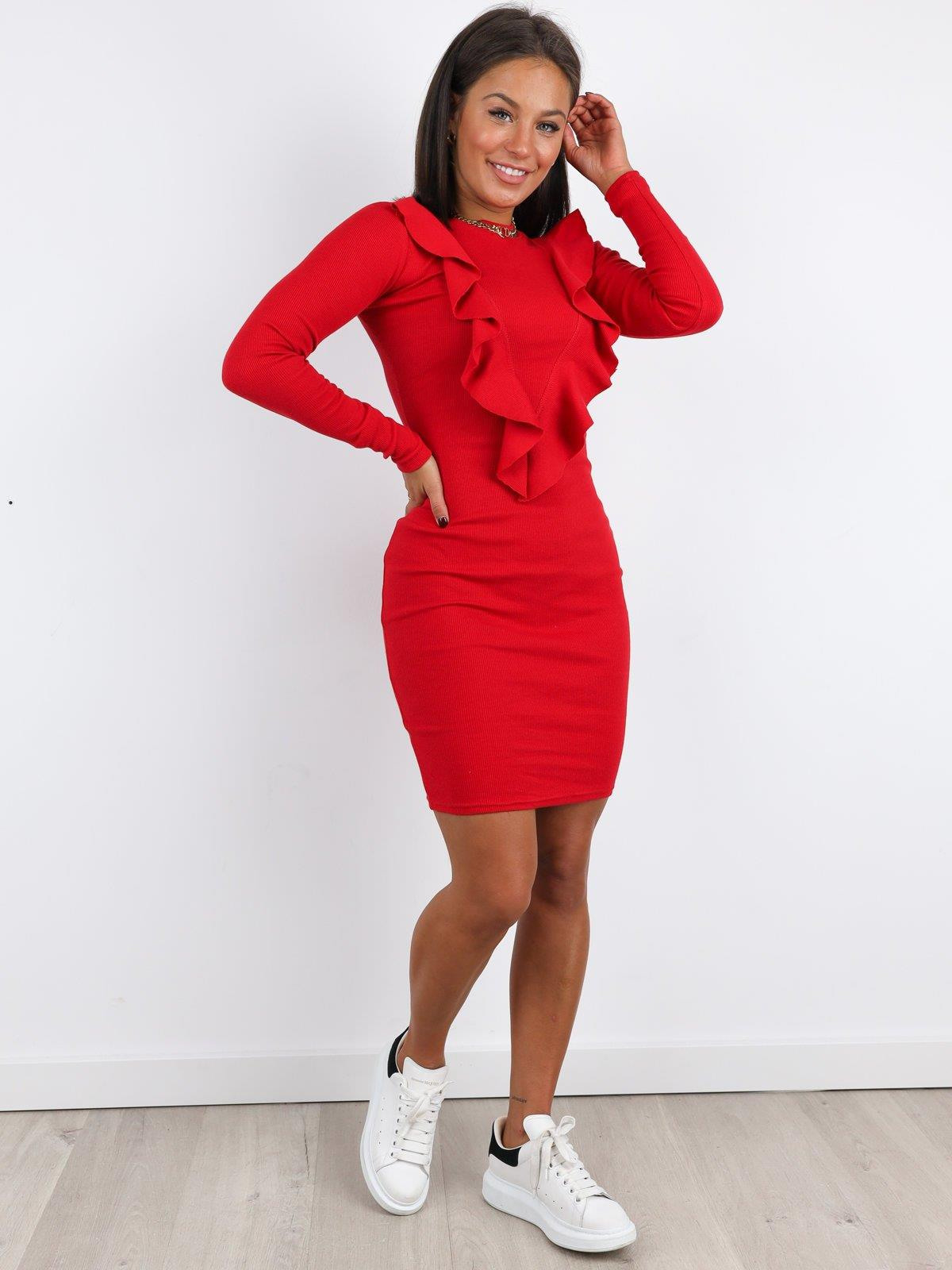 Geripptes Etuikleid Mit Rüschen  Rot  A242 Rot  Kleider