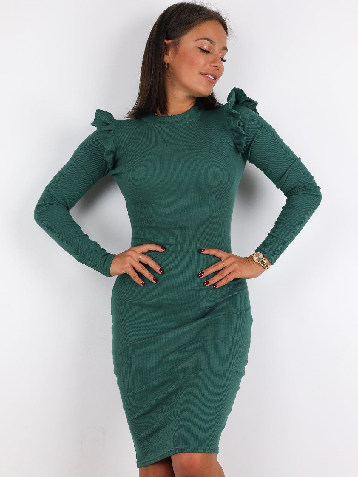 Geripptes Kleid Aus Baumwolle Mit Rüschen Ärmeln  Grün