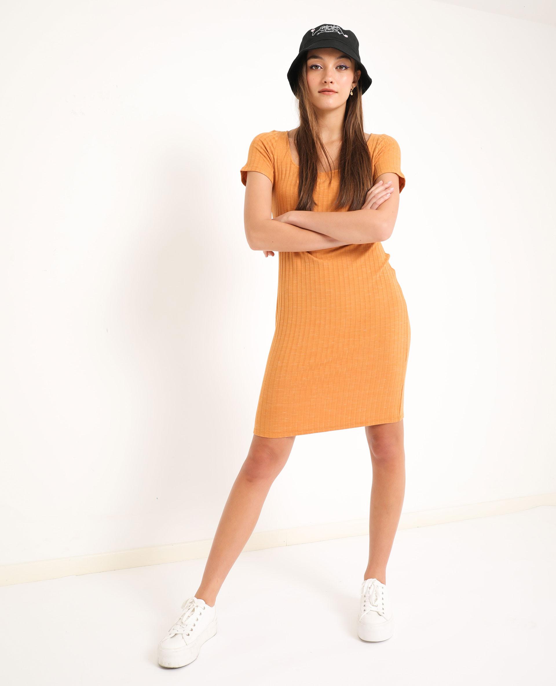 Geripptes Kleid Camel  781421D14A07  Pimkie