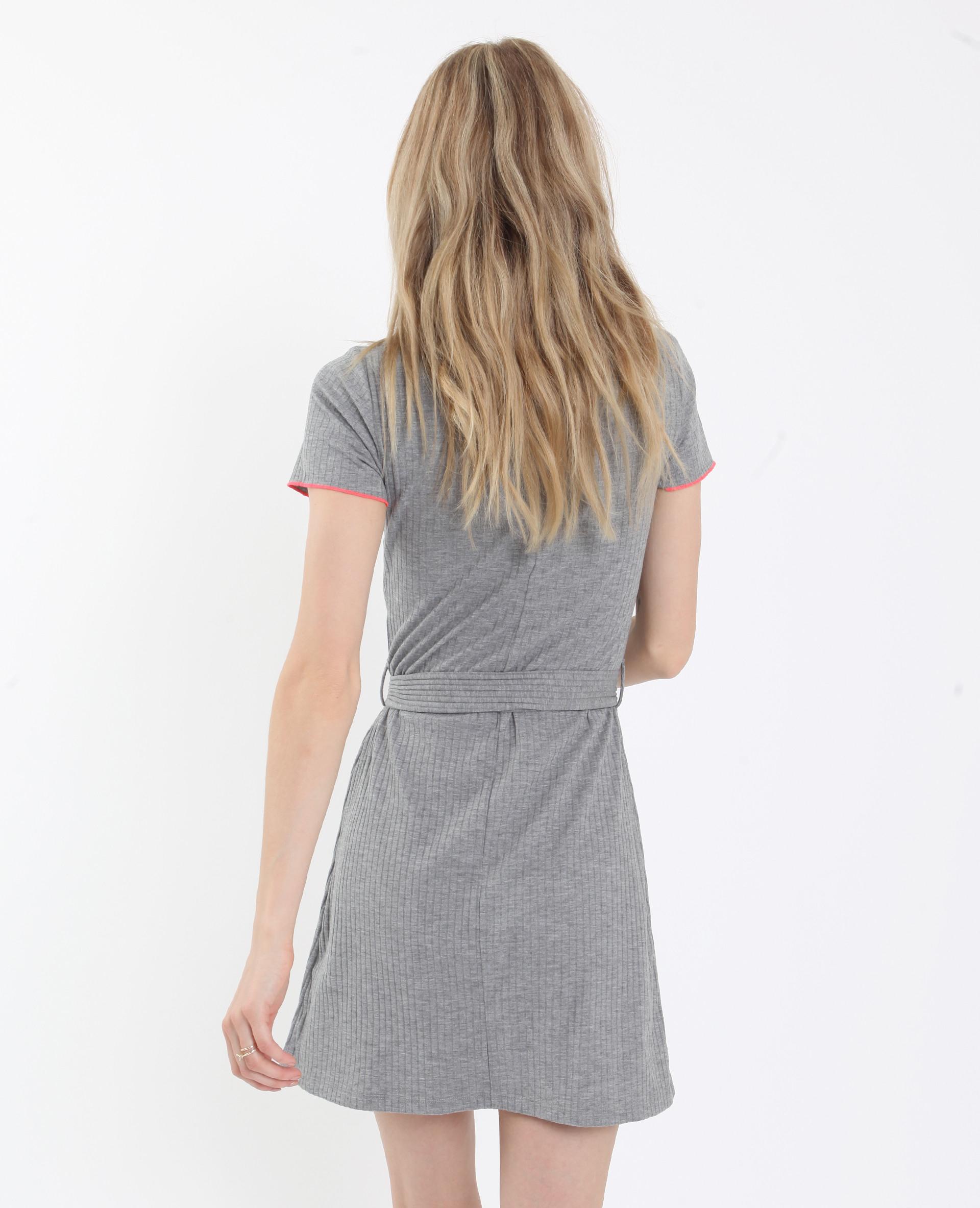 Geripptes Kleid Grau  781270817A08  Pimkie