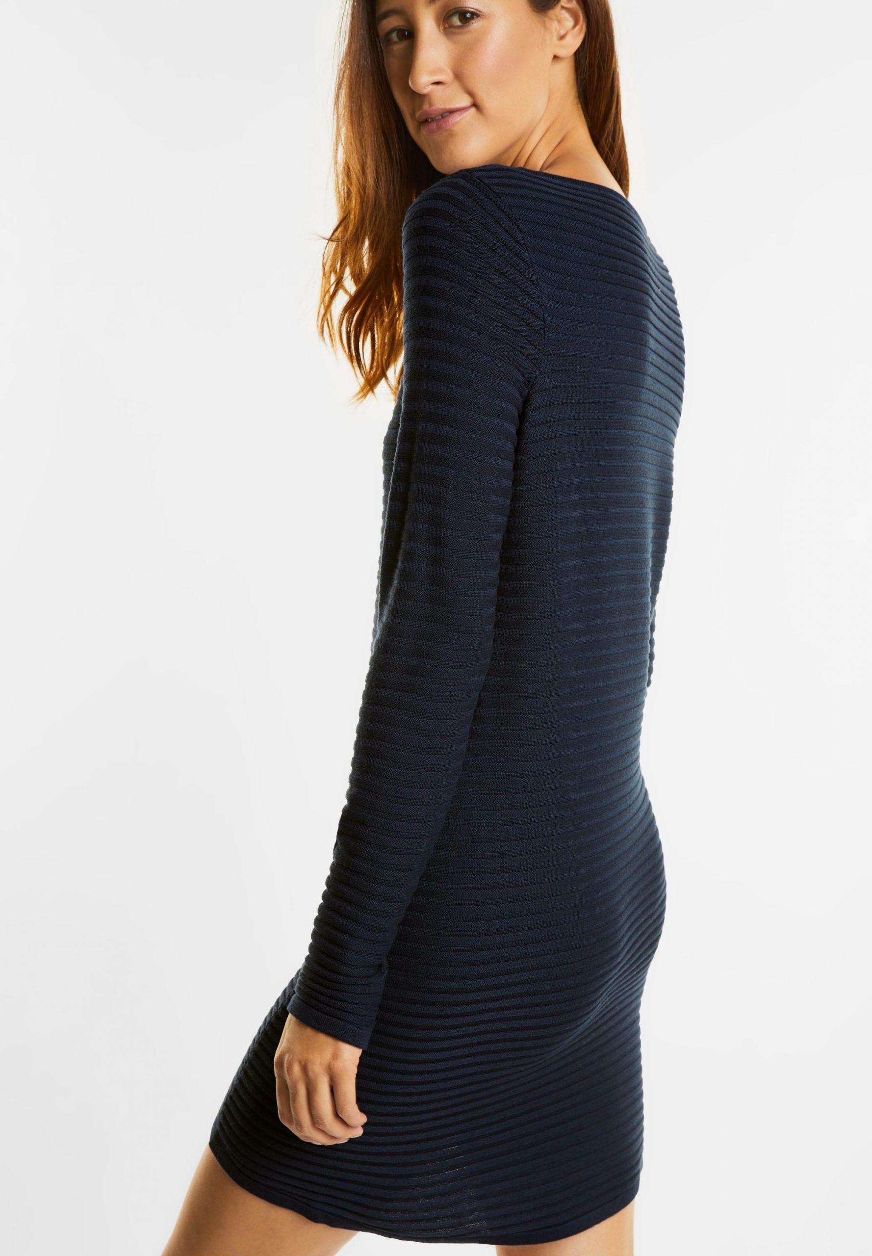 Geripptes Pullover Kleid In Night Blue Von Street One Kaufen