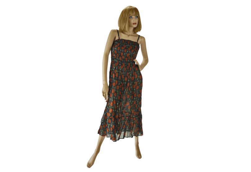 """Gesmoktes Im Siebdruck Handbedrucktes Kleid """"Sara"""" Indisch"""