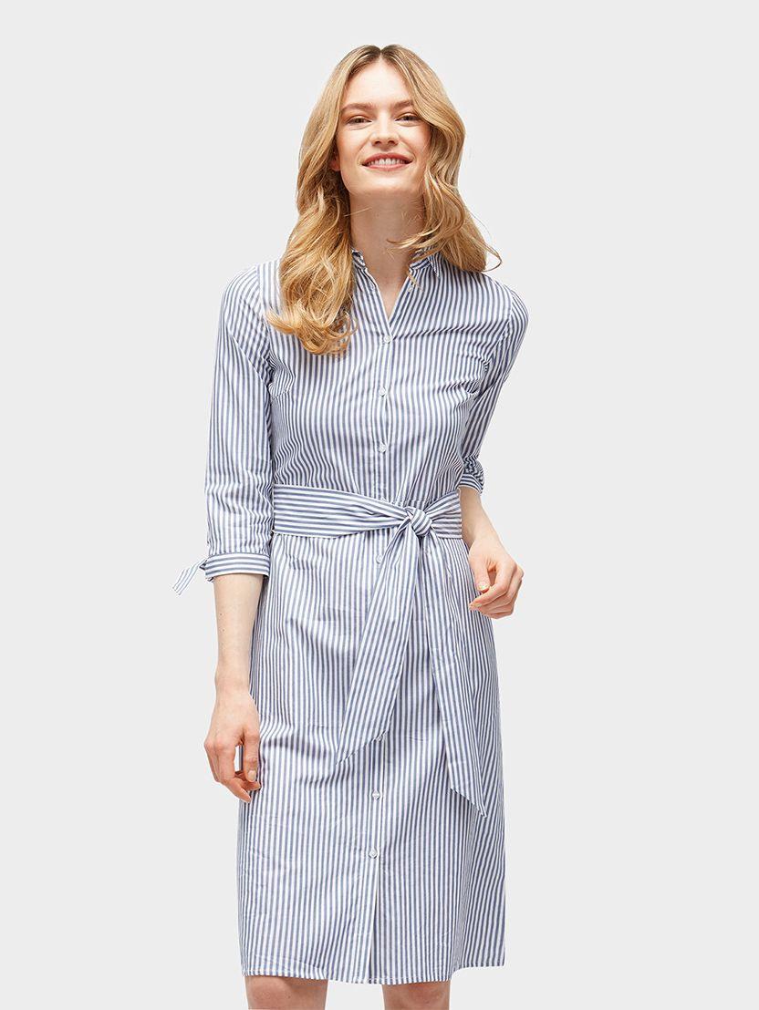 Gestreiftes Blusenkleid Mit Gürtel Mit Bildern  Kleid