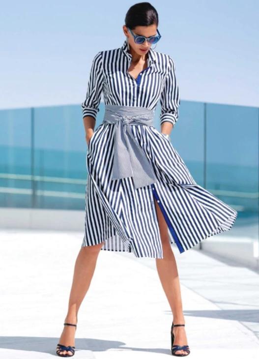 Gestreiftes Hemdblusenkleid L Madeleine Mode