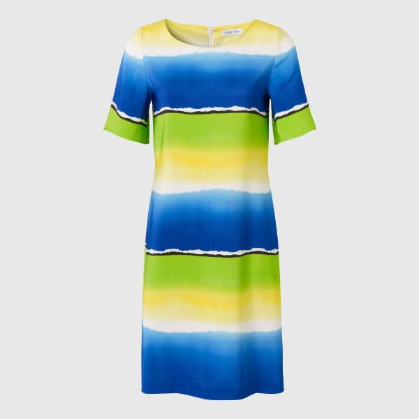 Gestreiftes Klassisches Kleid In Limegrün Und Blau In