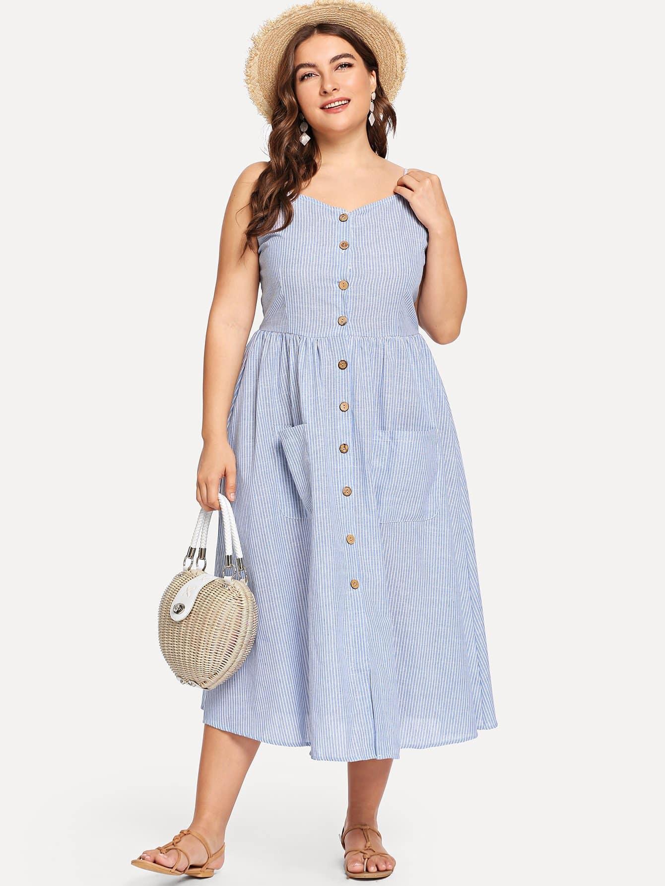 Gestreiftes Kleid Mit Knopfleiste Und Taschen  Shein