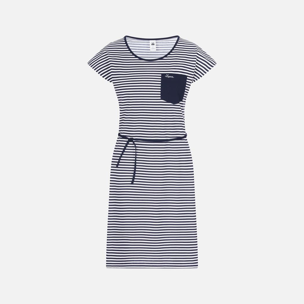 Gestreiftes Kleid Mit Schicker Kordel Navy  L  Trigema