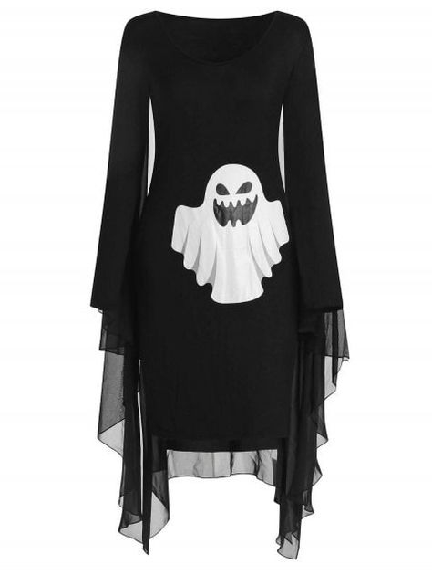 Ghost Print Halloween Cape Dress  Black Xl  Legere
