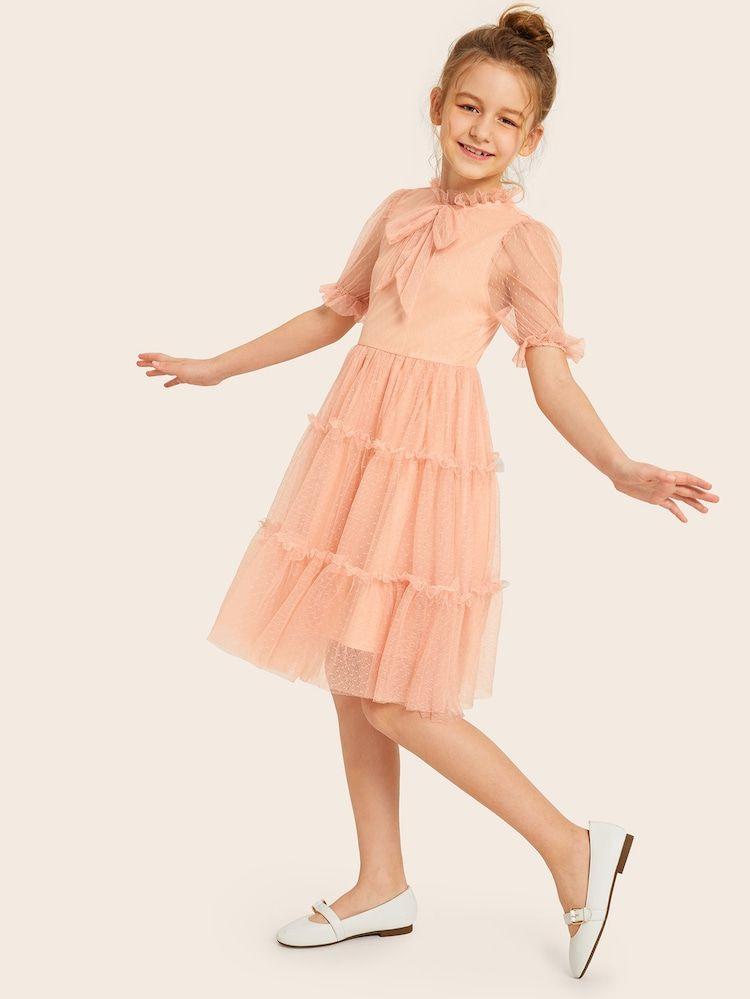 Girls Tie Neck Ruffle Trim Dobby Mesh Dress  Shein  Trẻ Em