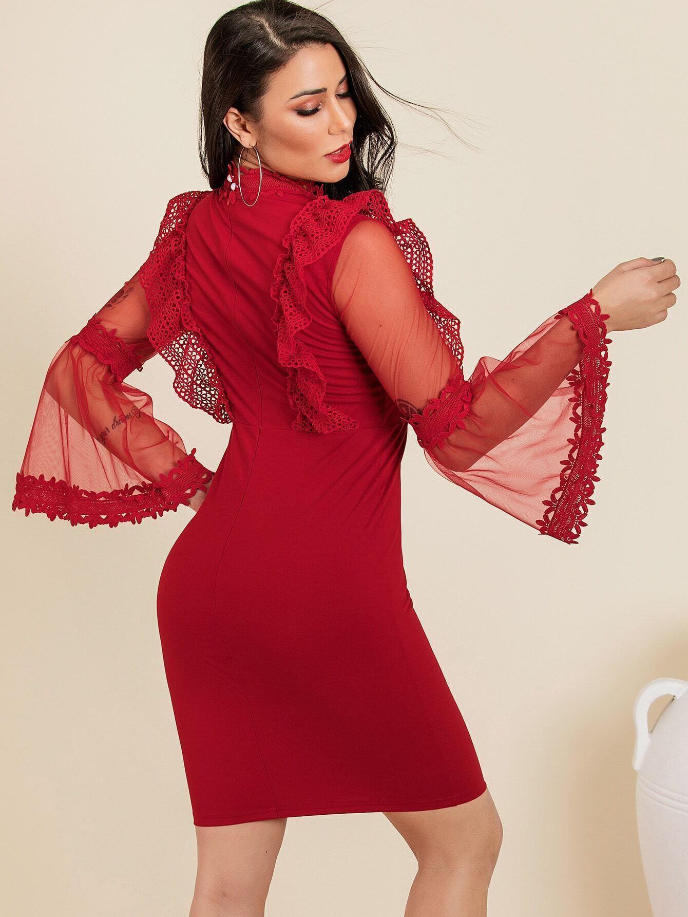 Glamaker Kleid Mit Spitzen Netzstoff Und Schößchen Auf