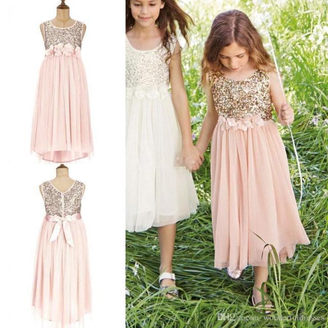 Glitter Gold Rosa Blumenmädchen Kleid 2016 Kleinkind