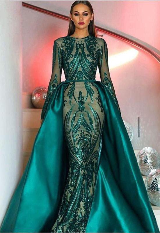 Glitzer Abendkleid Langarm Dunkelgrün Pailletten