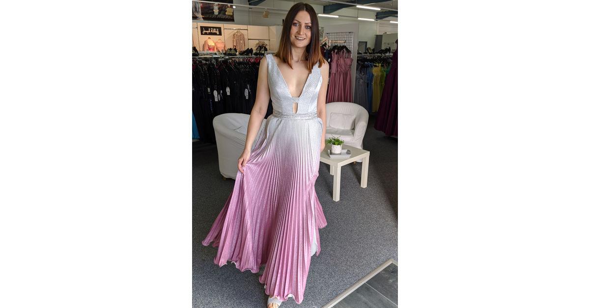 Glitzer Abendkleid Silber Pink Plissee Weise  Mode Bösckens