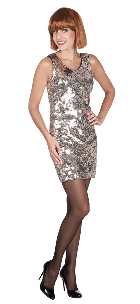 Glitzer Kleid  Glitter Damenostüm Grösse M Silber